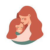 Side view of Cute young mother embracing her daughter with love. Vector illustration isolated from white