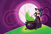 Vector Halloween poster background card with cute young witch.