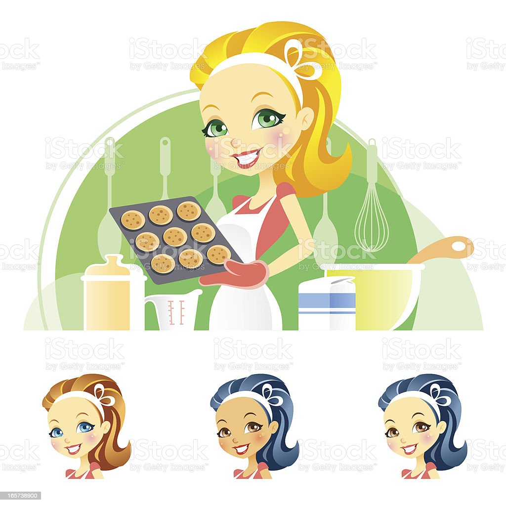 Cute Young Woman Baking Cookies vector art illustration