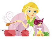 Vector illustration of woman cooking with recipe book.
