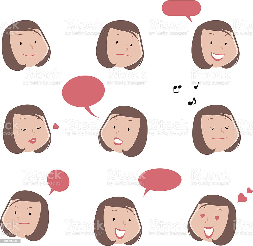 Cute Young Woman Emoticons vector art illustration