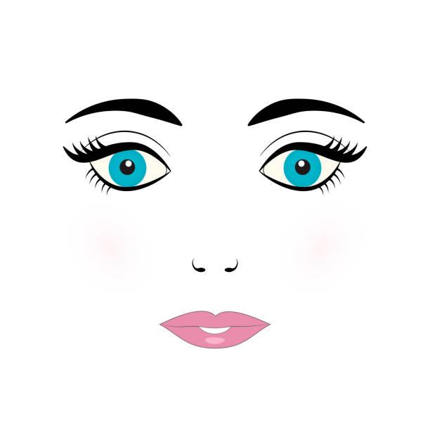 ilustraciones, imágenes clip art, dibujos animados e iconos de stock de ilustración de vector de mujer joven linda cara. cara de muñeca con ojos azules, pestañas, cejas y labios color rosa sobre fondo blanco. - ojos azules