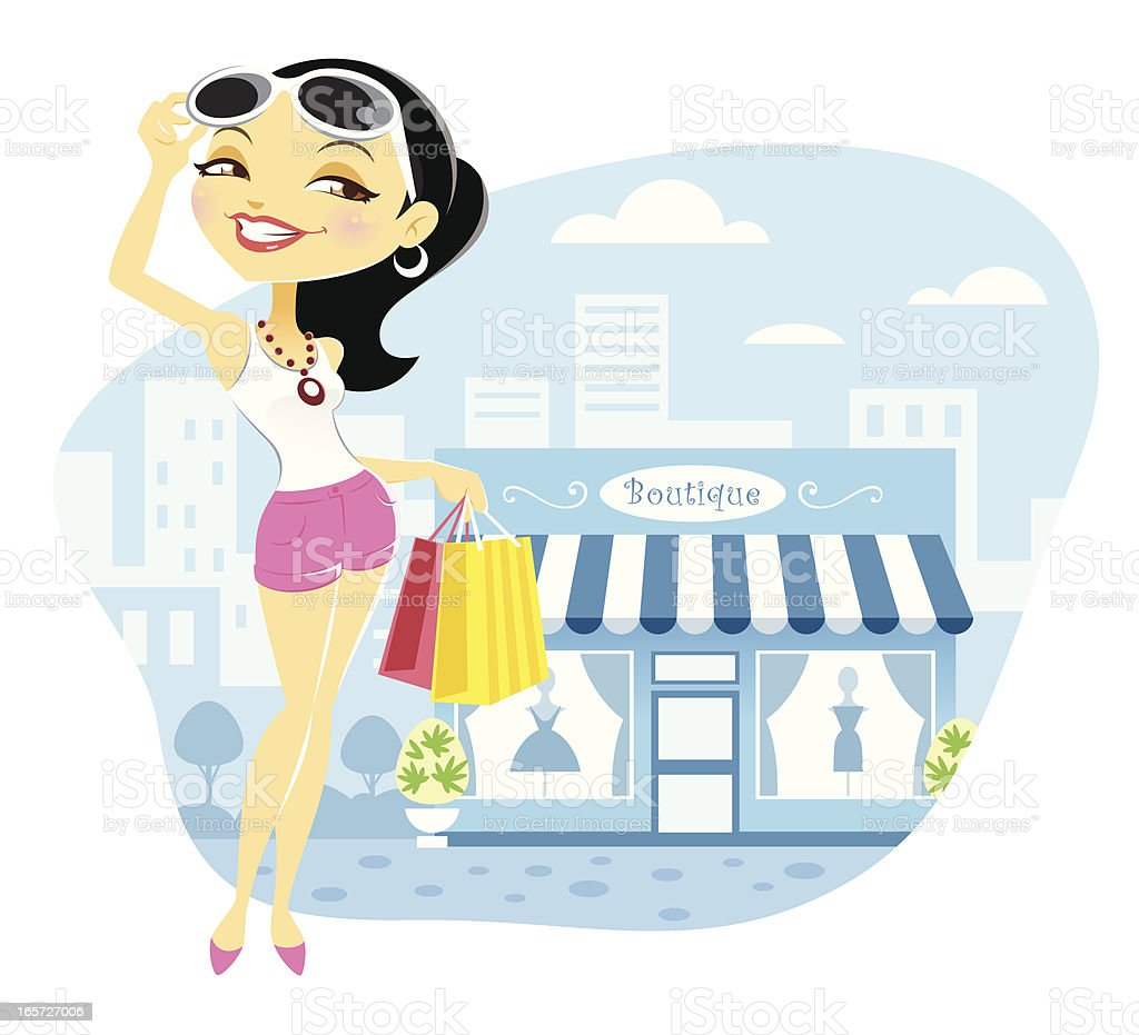 Cute Young Woman Fashion Shopping at Boutique vector art illustration