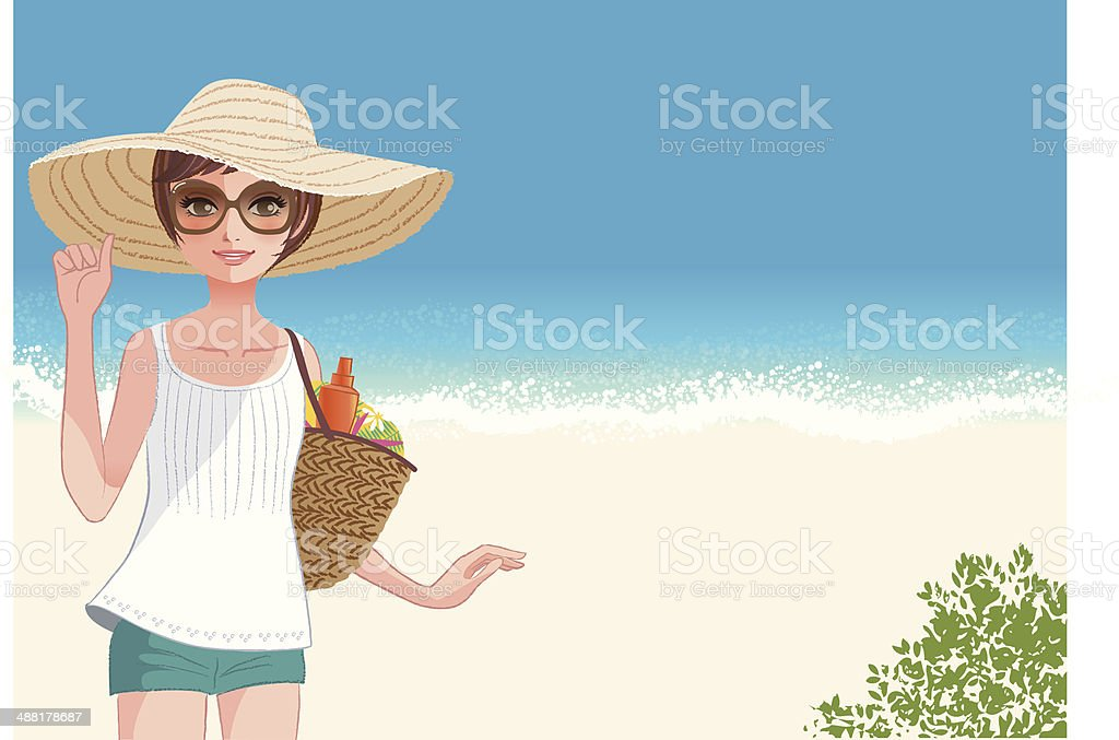 Cute young woman in straw hat smiling at beach vector art illustration