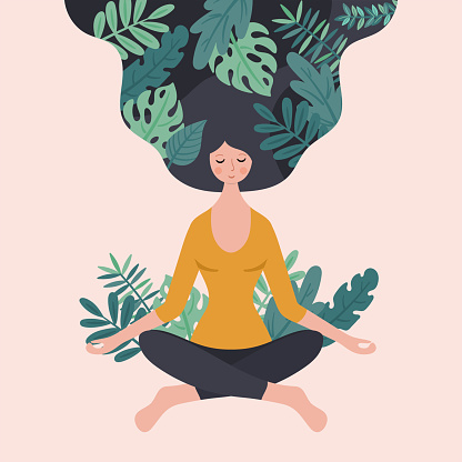Cute young woman meditating with green plants. Childish print