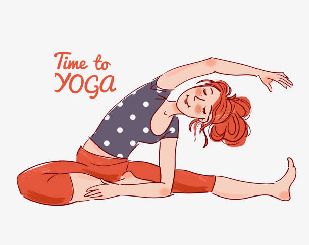 cute, young woman practicing yoga - redhead stock illustrations