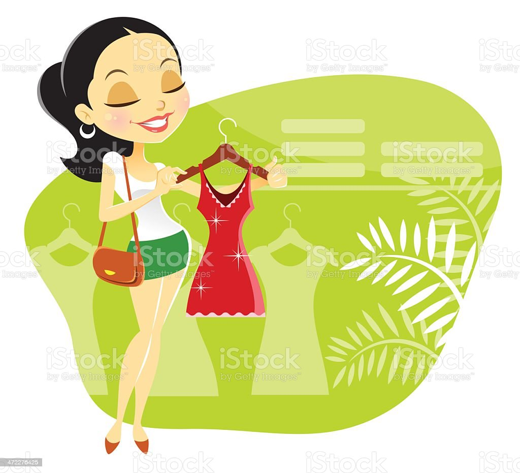 Cute Young Woman Shopping for Dress royalty-free cute young woman shopping for dress stock vector art & more images of adult