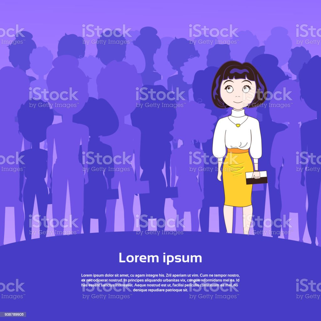 Cute Young Woman Standing Over Silhouette People Group With Copy Space Background vector art illustration
