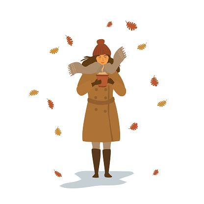 cute young woman warming up with hot drink in a mug in the park under falling dry autumn leaves isolated vector illustration scene