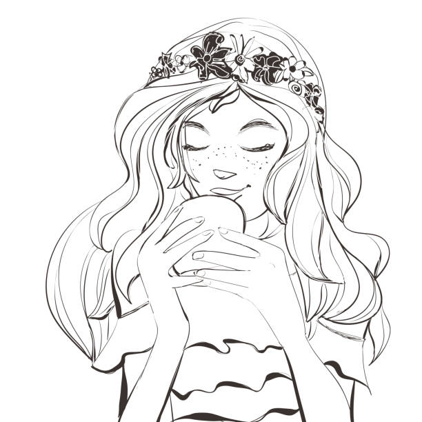 illustrations, cliparts, dessins animés et icônes de jolie jeune femme avec diadème de taches de rousseur et des fleurs sur beaux cheveux boire café, thé. illustration de vecteur de caractère. - femme tache de rousseur
