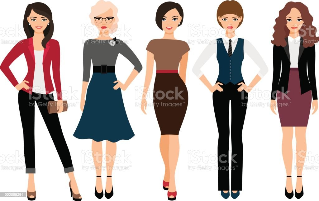 Cute young women in different clothes vector art illustration