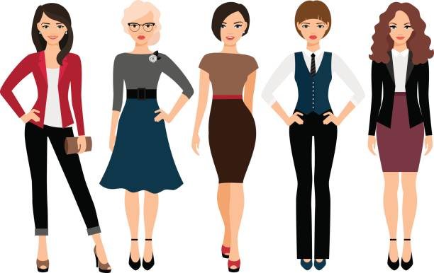 cute young women in different clothes - young women stock illustrations