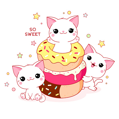 Cute yummy card in kawaii style. Three lovely cats with donuts