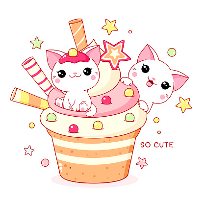 Cute yummy card in kawaii style. Two lovely cats with cupcake