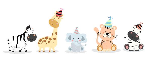 Cute zafari character with friend. Vector illustration for birthday invitation,postcard and sticker