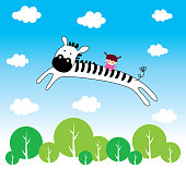 cute zebra angel with little child flying vector