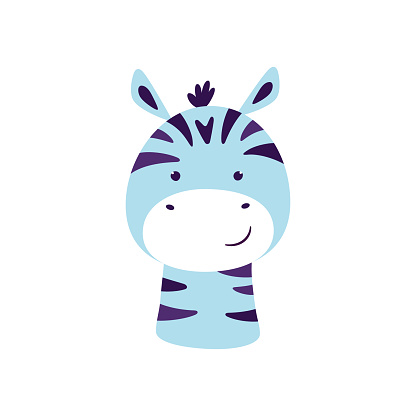 Cute zebra. Animal kawaii character. Funny little zebra face. Vector hand drawn illustration isolated on white background