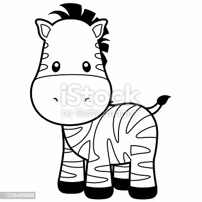 Adorable, black and white zebra cartoon illustration on a white background.