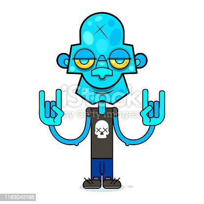 Cute zombie in a black t-shirt with a skull.Vector