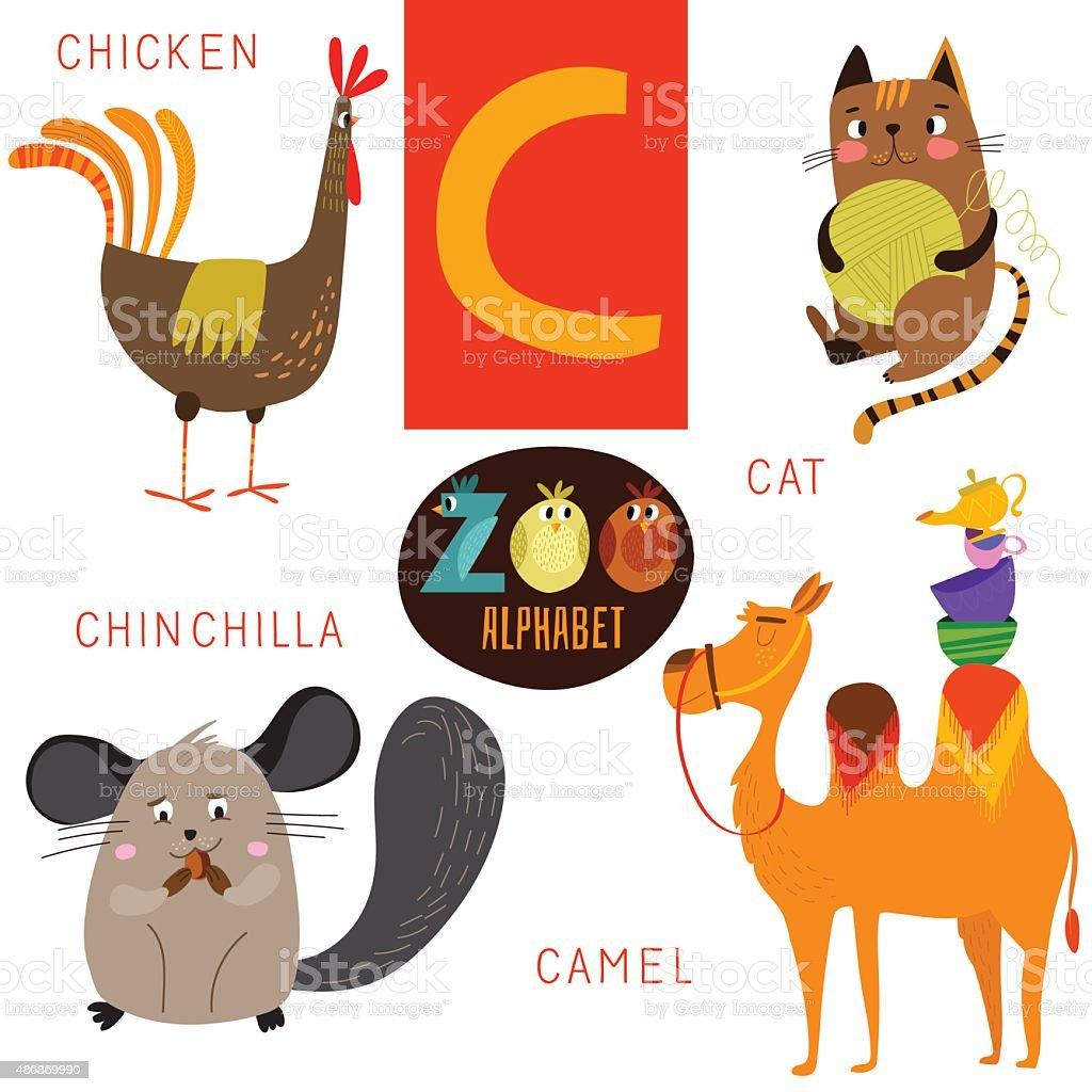 かわいい動物園の文字アルファベット vectorc ます面白い漫画の動物 の