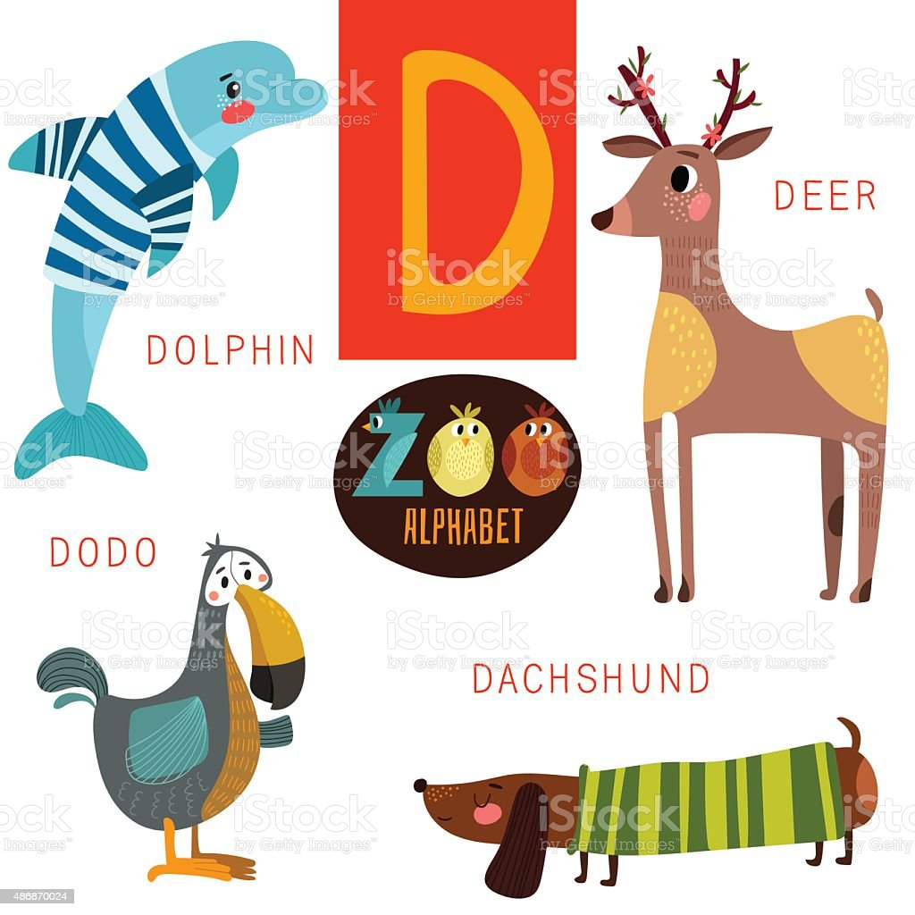 6387cbbd0 Cute zoo alphabet in vector.D letter. Funny cartoon animals - Illustration .