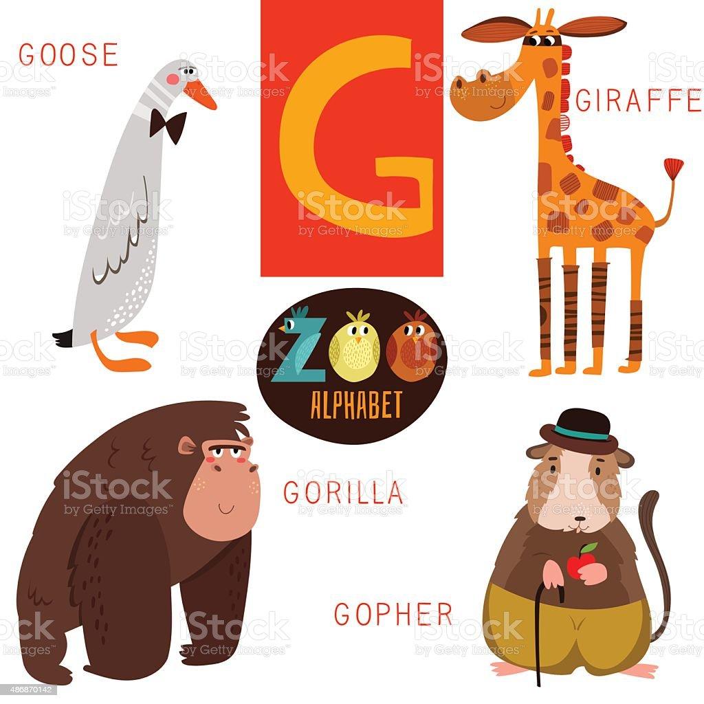 かわいい動物のベクトルアルファベット文字ます面白い漫画の動物 の