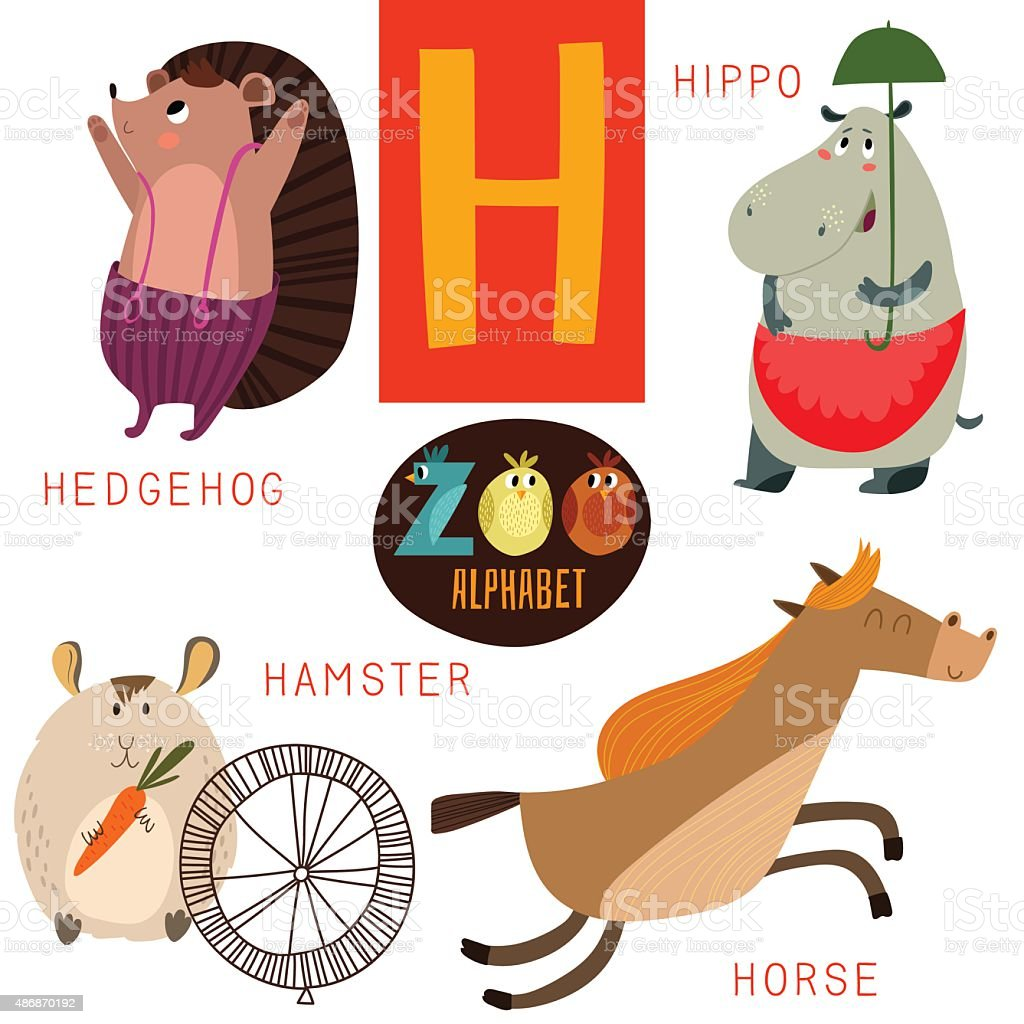 cute zoo alphabet in vectorh letter funny cartoon animals stock