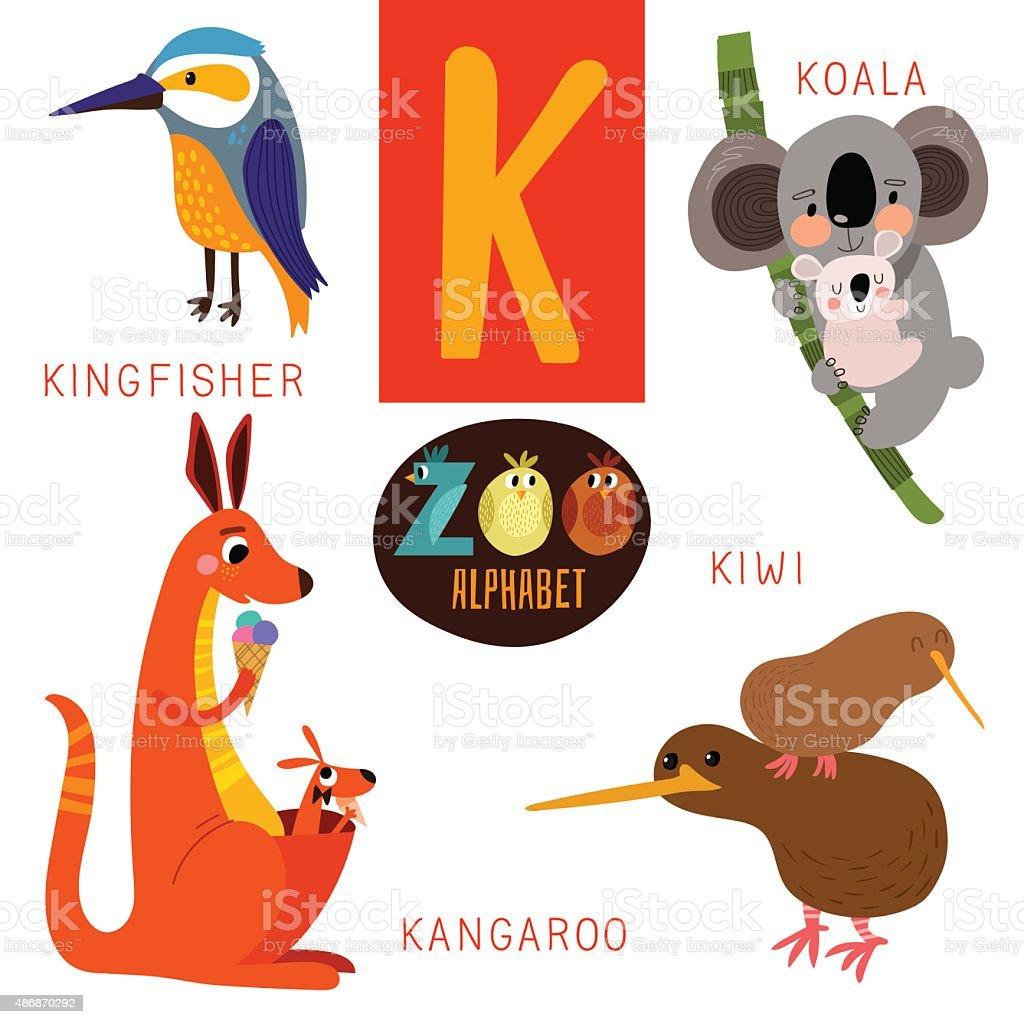 かわいい動物のベクトルk アルファベット文字です面白い漫画の動物 の