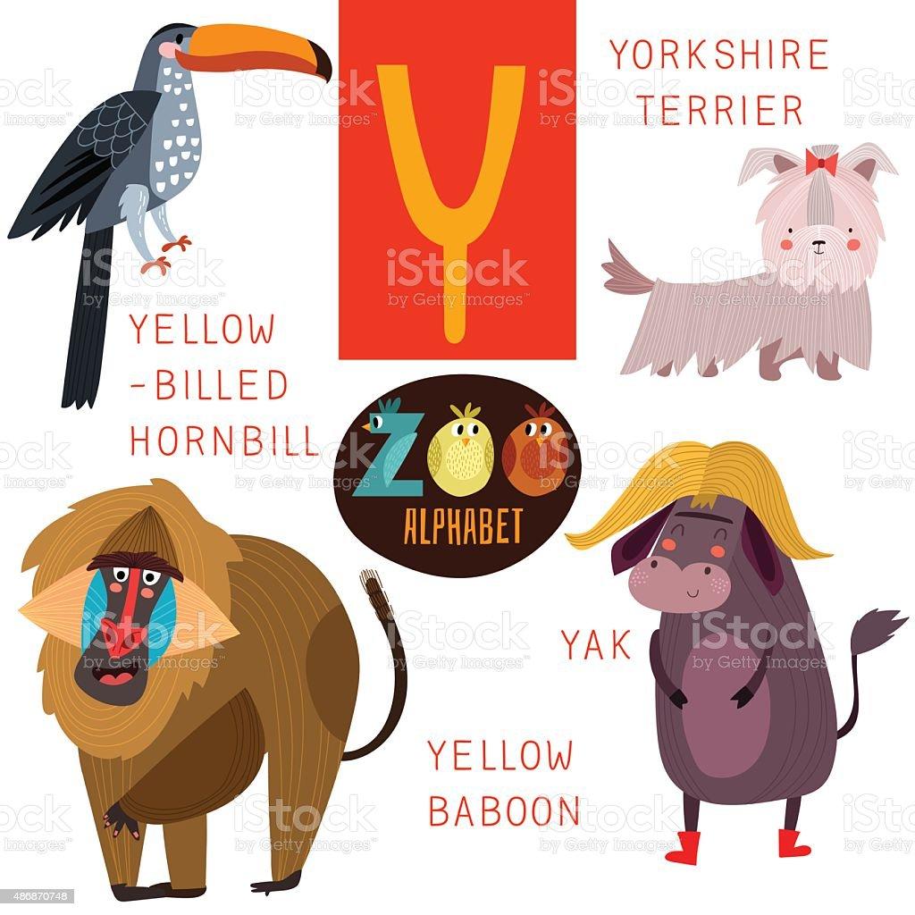 Cute zoo alphabet in vector.Y letter. Funny cartoon animals vector art illustration