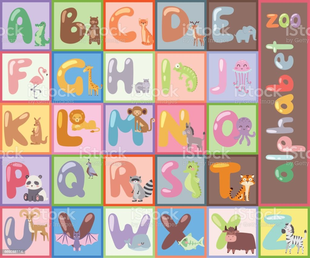 Cute zoo alphabet with cartoon animals isolated and funny letters wildlife learn typography cute language vector illustration vector art illustration
