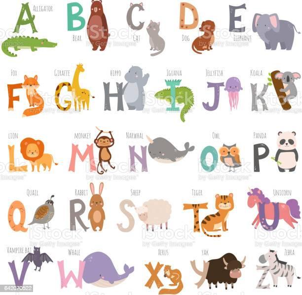 Cute zoo alphabet with cartoon animals isolated on white background vector id642070522?b=1&k=6&m=642070522&s=612x612&h=ltrjvvra 3ncj32ogagxf11ubn4 rhdvendn4atgpkq=