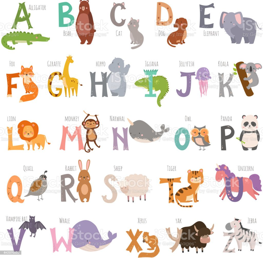 Cute zoo alphabet with cartoon animals isolated on white background and grunge letters wildlife learn typography cute language vector illustration vector art illustration