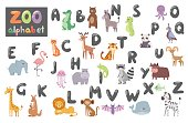 Cute zoo alphabet with cartoon animals isolated on white background and funny letters wildlife learn typography cute language vector illustration. Nature wild study education font.