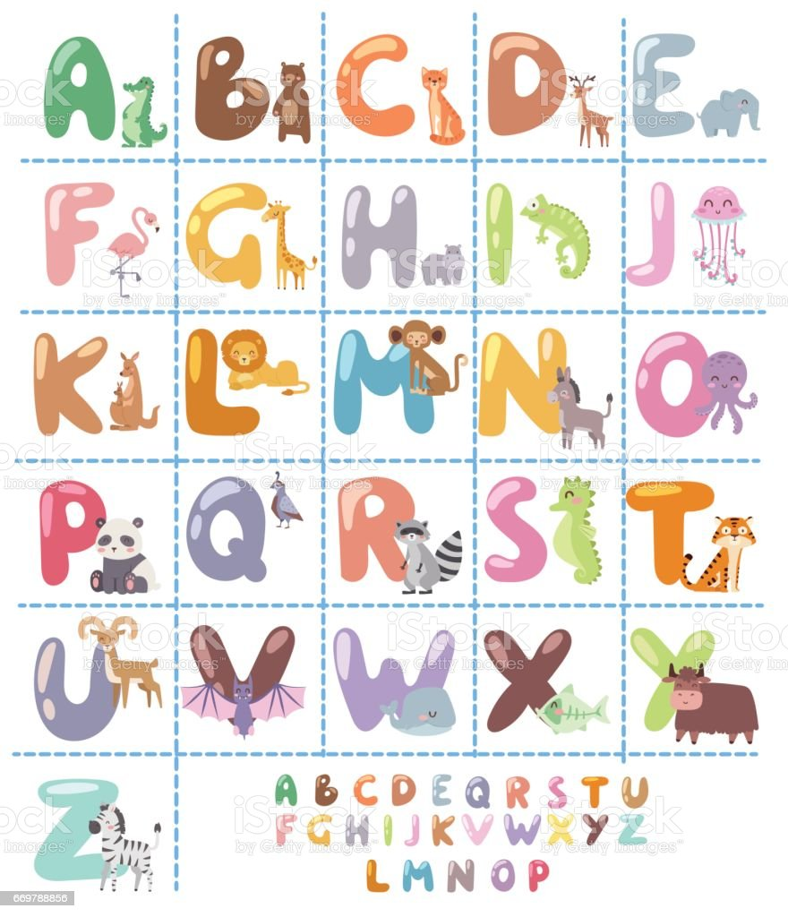 Cute zoo alphabet with cartoon animals isolated on white background and funny letters wildlife learn typography cute language vector illustration vector art illustration