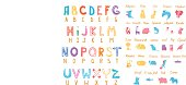 Cute zoo alphabet with funny animals in vector . Letters. Isolated.