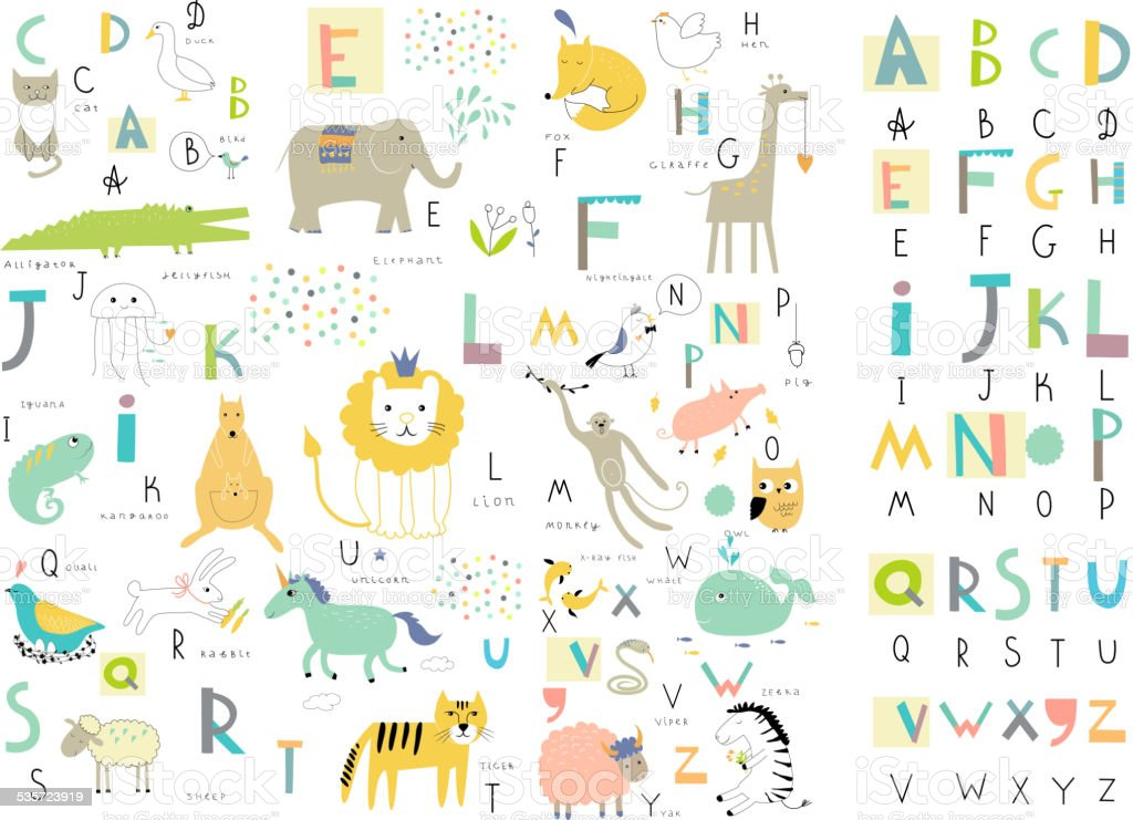 Cute zoo alphabet with funny animals in vector . vector art illustration