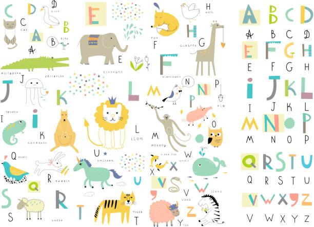 bildbanksillustrationer, clip art samt tecknat material och ikoner med cute zoo alphabet with funny animals in vector . - förskolebyggnad