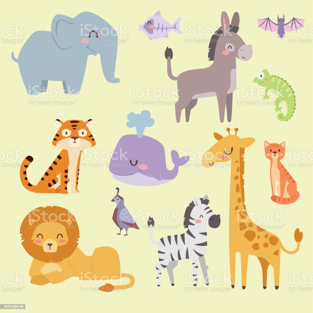 Cute zoo cartoon animals isolated funny wildlife learn cute language and tropical nature safari mammal jungle tall characters vector illustration vector art illustration