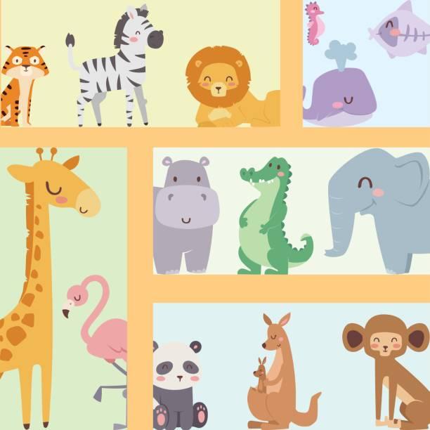 cute zoo cartoon tiere isoliert lustige tierwelt niedliche sprache lernen und tropische natur safari säugetier dschungel groß zeichen vektor-illustration - giraffenhumor stock-grafiken, -clipart, -cartoons und -symbole