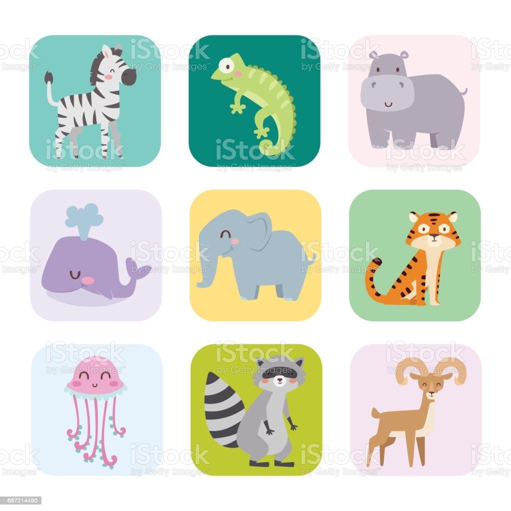 Cute zoo cartoon animals isolated funny wildlife learn cute language and tropical nature safari mammal jungle tall characters vector illustration векторная иллюстрация