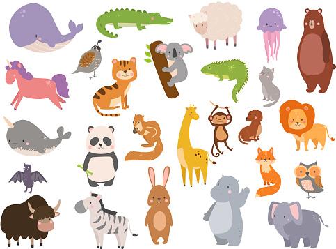 Cute zoo cartoon animals isolated funny wildlife learn cute language and tropical nature safari mammal jungle tall characters vector illustration