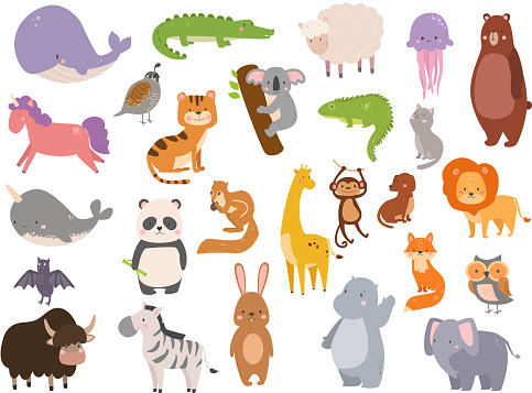 Cute zoo cartoon animals isolated funny wildlife learn cute language and tropical nature safari mammal jungle tall characters vector illustration clipart