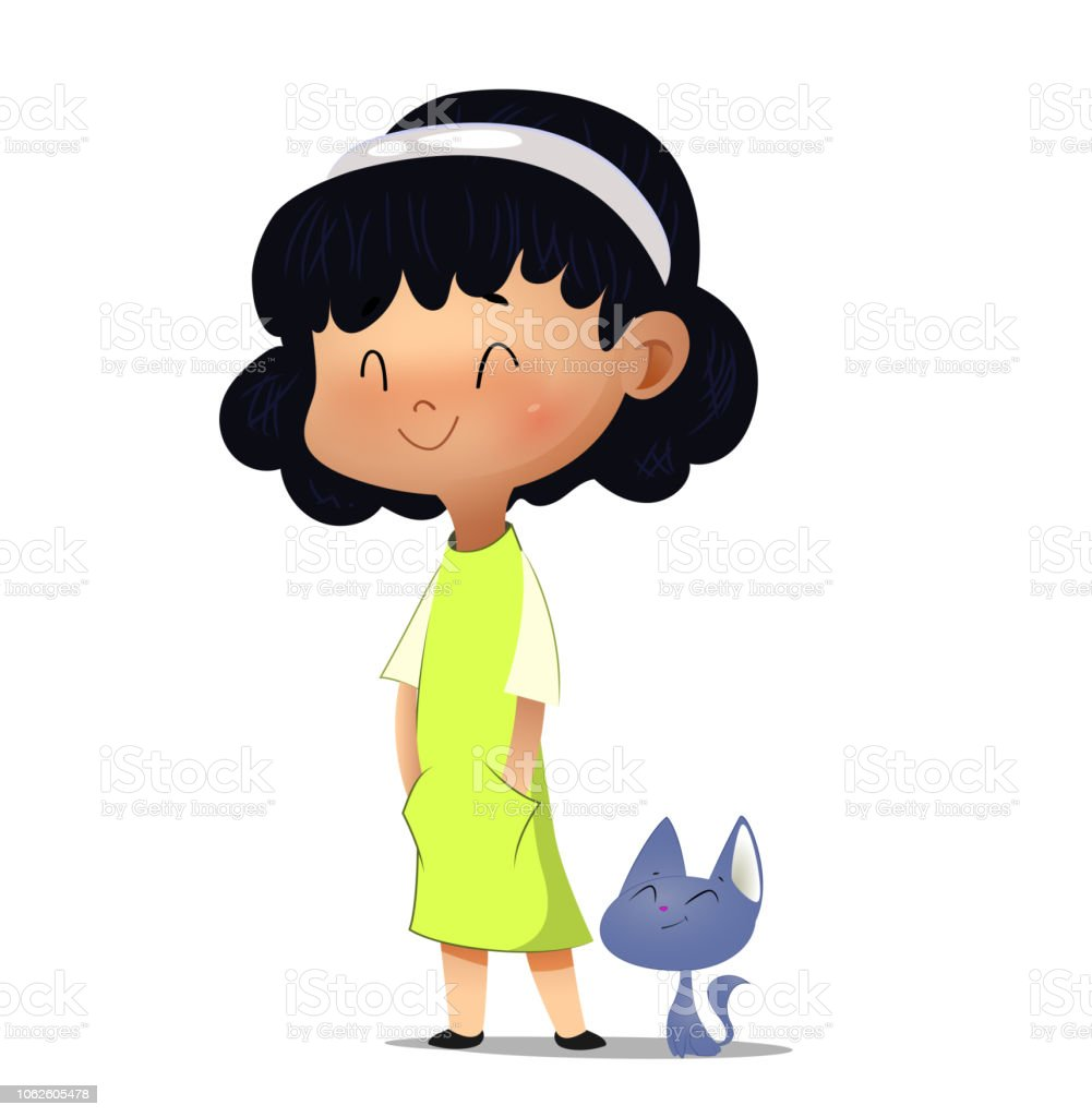 Ptite_puce20 fille et chat. - Illustration vectorielle