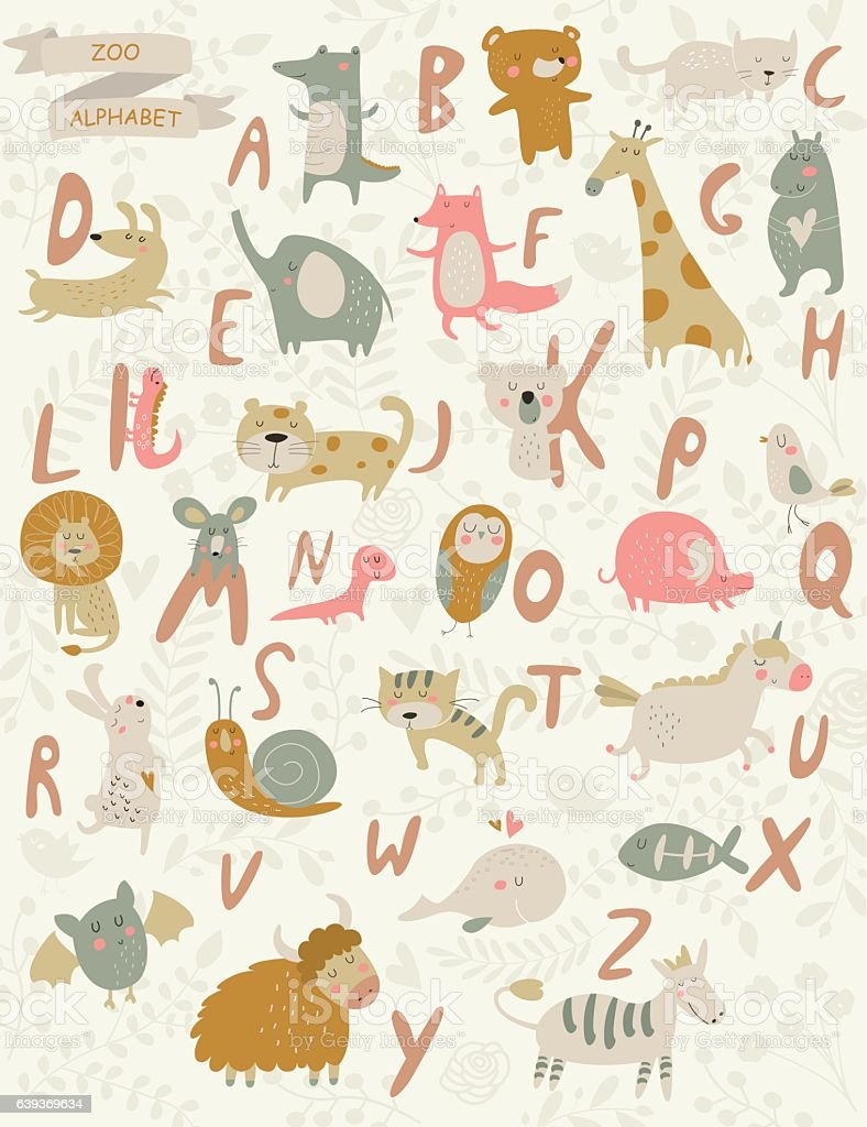 cutepinkgreyalphabet vector art illustration