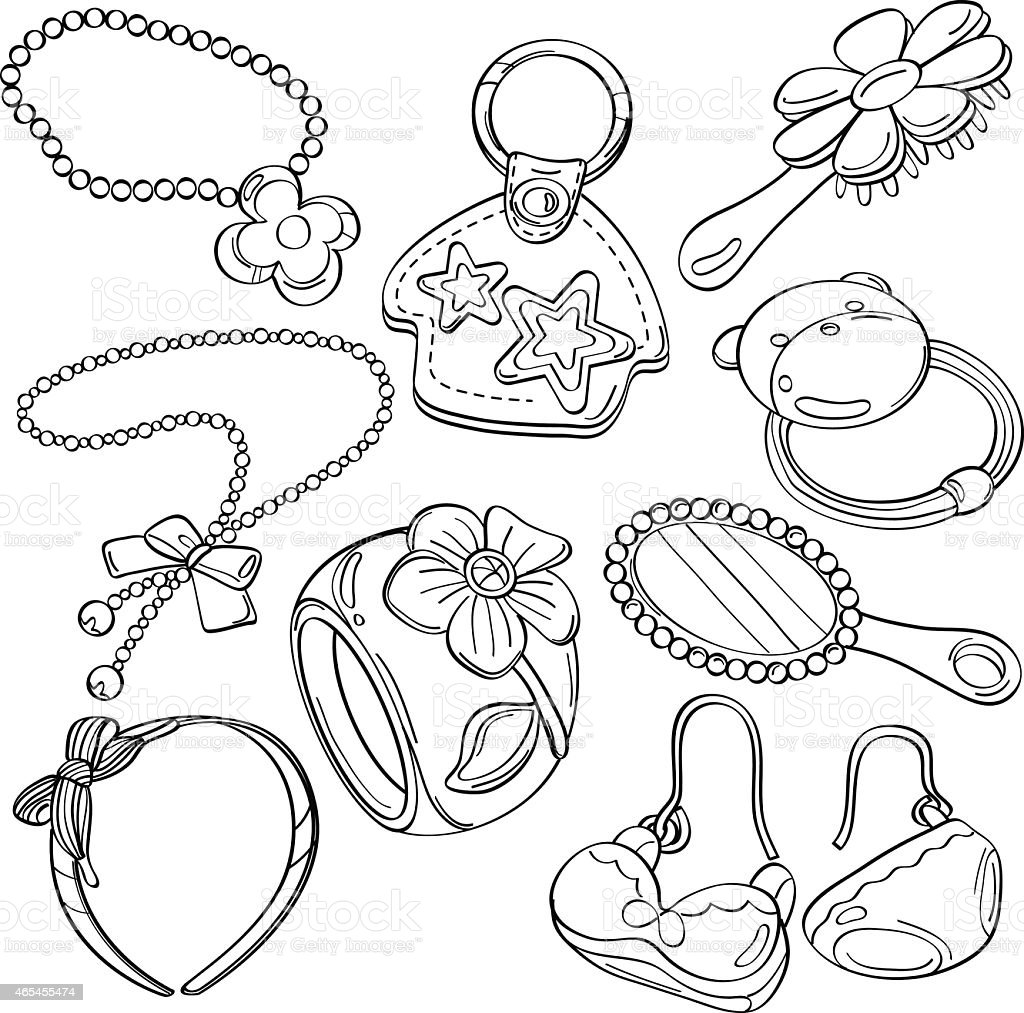 Cutie Accessories vector art illustration