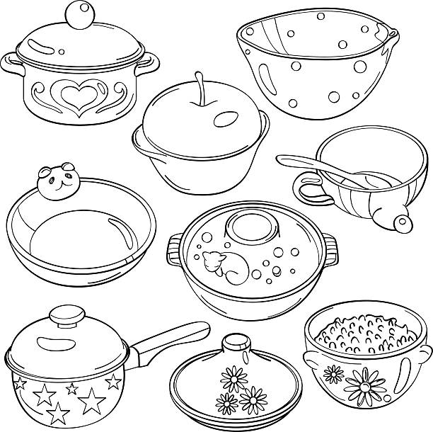 Best Kitchen Illustrations Royalty Free Vector Graphics: Best Black And White Cartoon Bowl Of Rice Illustrations