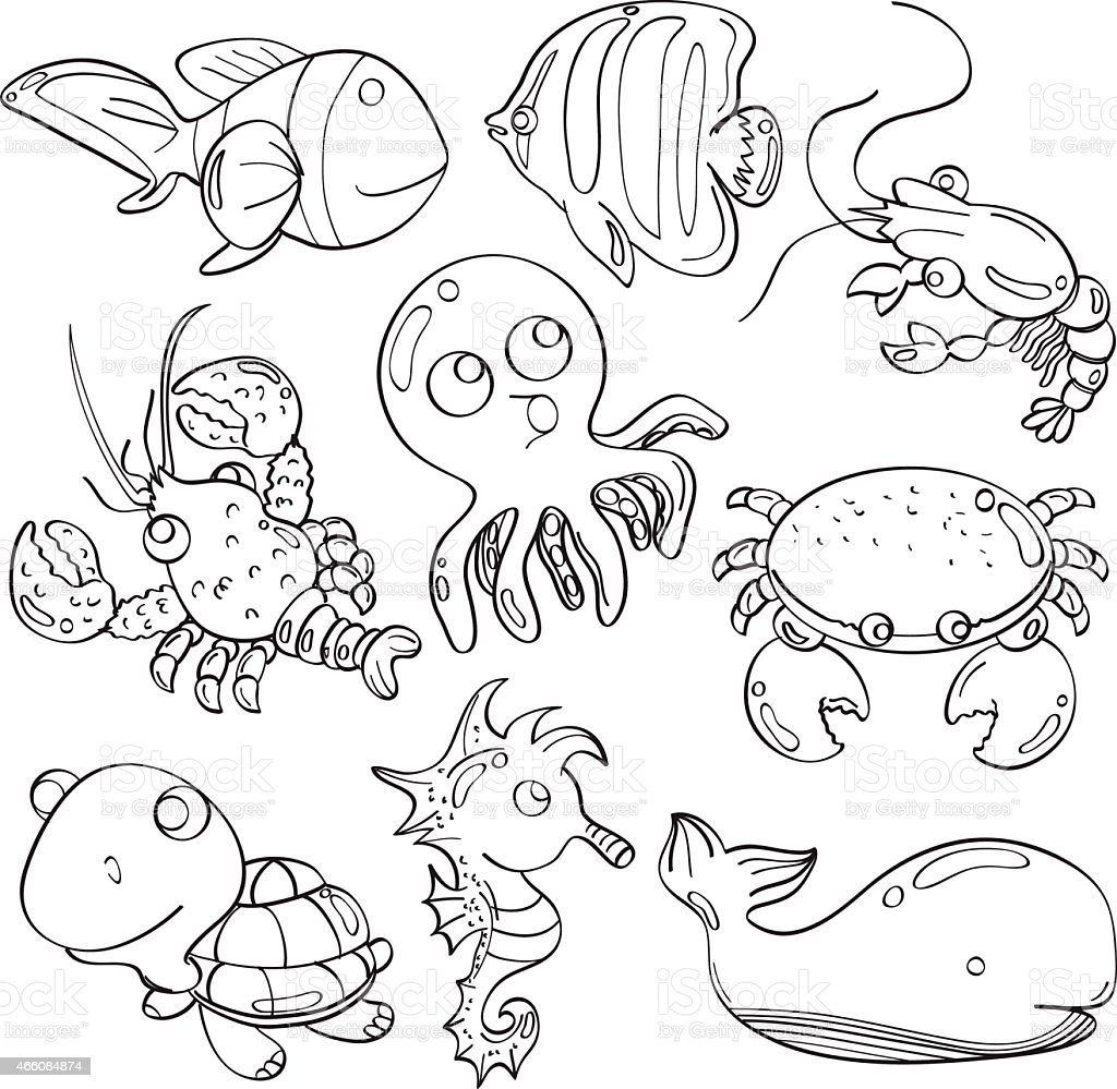 cutie marine animals stock vector art  more images of