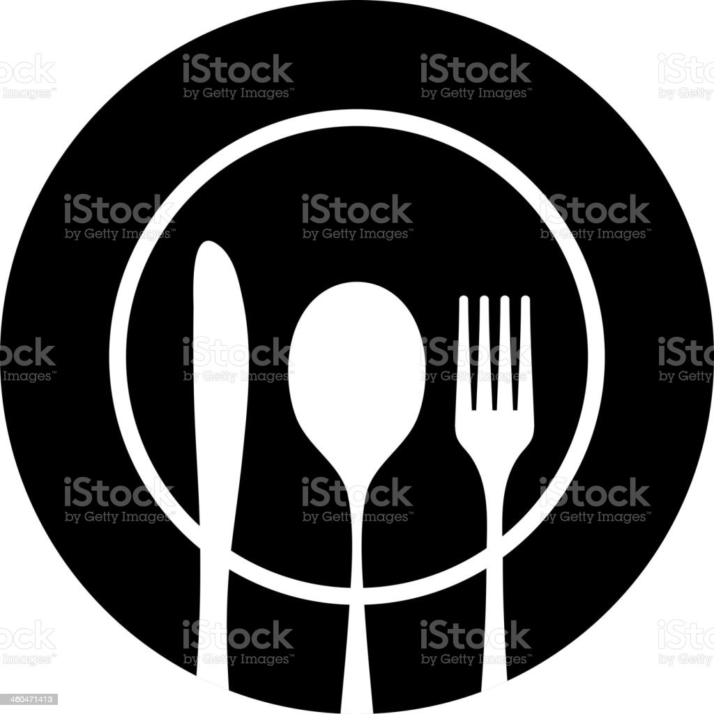 Cutlery black silhouette vector art illustration