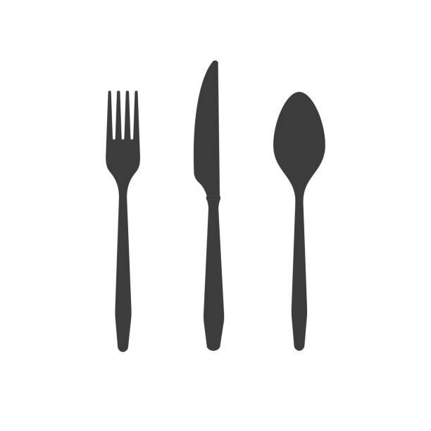 stockillustraties, clipart, cartoons en iconen met bestek zwarte silhouetten messen vorken lepels geïsoleerd op witte achtergrond - keukenmes
