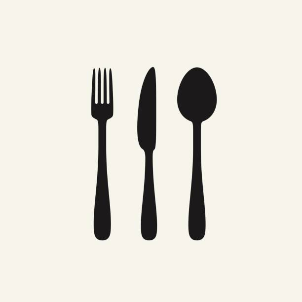 illustrazioni stock, clip art, cartoni animati e icone di tendenza di cutlery black silhouettes - coltello posate